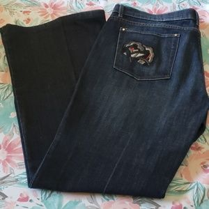 WHBM Crystal Rose Pocket Flare Jeans 14